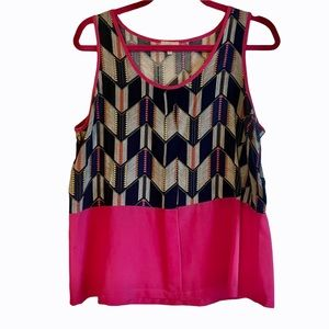 Pixley Scoop Neck Abstract Printed Pink Tank